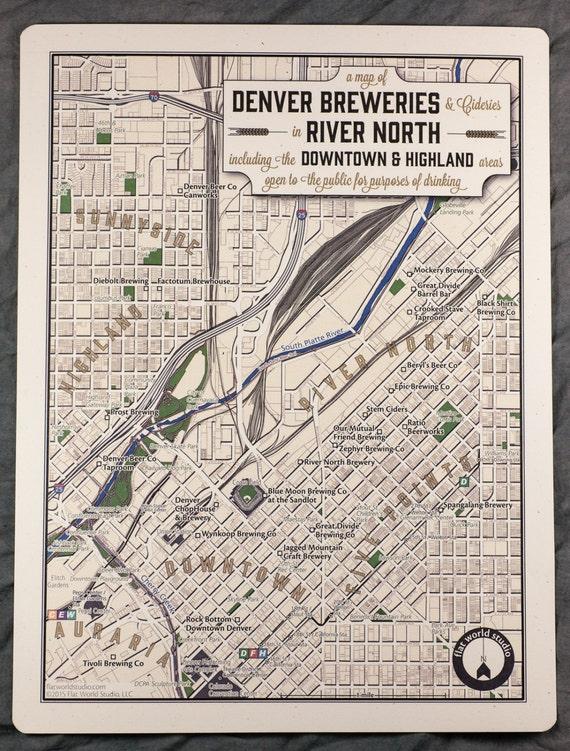 Denver Brewery Map River North Neighbeerhood Series | Etsy