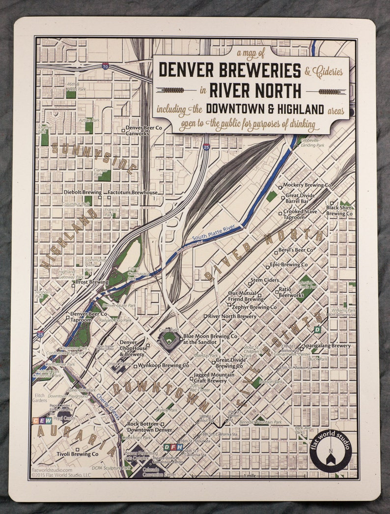 Denver Brewery Map River North Neighbeerhood Series | Etsy on