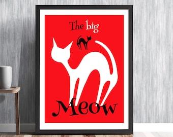 Red Cat Print, Cat Print, Black Cat, Cat Lover Gift, Mid Century Cat Print, Mid Century Modern print, Cat art Hedvig Desh MCM/0217