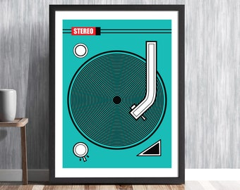 Retro Turntable Print by Artist Hedvig Desh, Record Player Poster, Music Room, DJ Turntable Deck, Hipster Decor, Vinyl Record, MCM/0207
