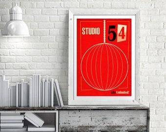 NY Fashion Print, Studio 54 Print, Mid Century Modern, Fashion Poster 54th Street, New York Print, Vintage New York, NYC Print  ref MCM/0290