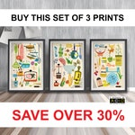 Set of Prints, Mid Century, Modern, kitchen, decoration, Wall Art, Print, Retro, Art, Print, Scandinavian, Retro, Print Set, scandi, MCM,