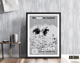 lunar, moon, landing, Nasa, Apollo, mission, space, age, race, rocket, ship, Neil, Armstrong, Buzz Aldrin, retro, art, wall, print MCM/064