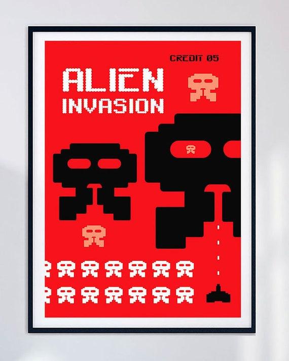 187645 Space Invaders Retro Game MAME Arcade Atari Decor Wall POSTER Print