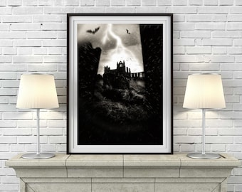 Whitby Abbey Print, Whitby Print, Vampire Print, Gothic Horror Art, Horror Print, Dracula Print, Graveyard Decor, Bat Print - ref 1128/00