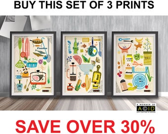 Set of Prints, Mid Century, Modern, kitchen, decoration, Wall Art, Retro, Art, Print, Scandinavian, Retro, Print Set, scandi, MCM - unframed