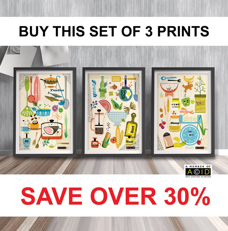Set of Kitchen Prints Mid Century Modern Wall Art image 0