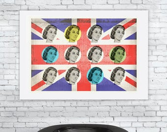 Atomic Housewife - 'Unframed' Art Print - mid century modern union jack UK fifties forties kitsch home  -ref 0823/00