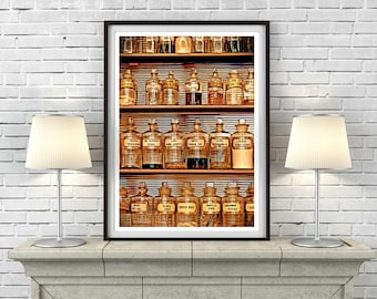 Victorian Pharmacy print, old, pharmacy, chemist, vintage, medicine, bottle, cabinet, display, medicines, photography, wall, art, print