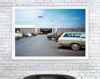 Holy Flying Saucers! 'Unframed' Fine Art print - Mid Century UFO alien abduction grays invasion -ref 1025/00