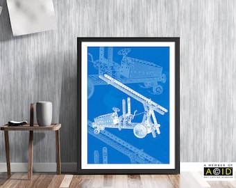 Fire Engine Print, Meccano Patent Print, Vintage Patent Art, Fire Engine Blueprint, Meccano Gift Idea, Meccano Fire Truck, ref MCM/0077