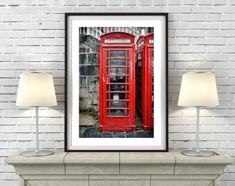 Red Telephone Box - Art Print 'Unframed'  - Mid Century British retro photography phone call box poster - P&P WORLDWIDE