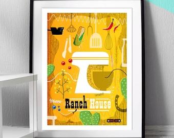 MCM Kitchen print, American mixer print, Vintage Kitchen Print, Kitchen decor, cooking art gift, Cowboy Art by Hedvig Desh - ref MCM/0347