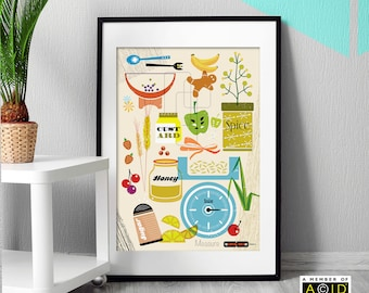 Mid Century, kitchen, cookery, illustration, Modern, Print, Art, Retro, Wall Art, display, decal, decoration, poster, artMCM/050 - unframed