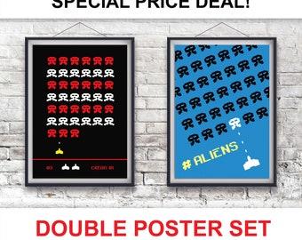 Retro Gamer Art, Retro Gaming, Space invaders Print Set, Gamer Gift, Retro Gamer Prints, Set of Two, Space Invaders Poster Set MCM/0184/186