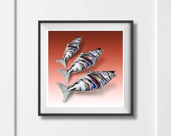 Murano Glass Fish Art Print 'Unframed'  - vintage style mid century retro kitsch photo illustration - P&P WORLDWIDE