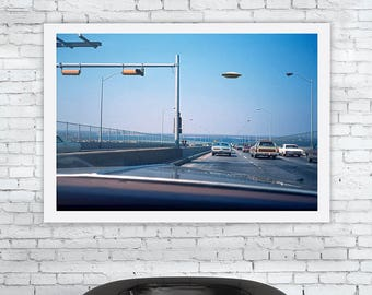 UFO, flying, saucer, space, craft, visitor, freeway, mid century, alien, abduction, landing, invasion, foo fighters, art, print ref 1026/00