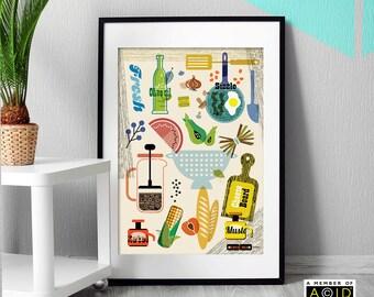 Kitchen Print, retro Scandinavian Mid Century, Art Print, Retro, Wall Art, Wall Art, Mid Century Wall Art, MCM/052 - unframed