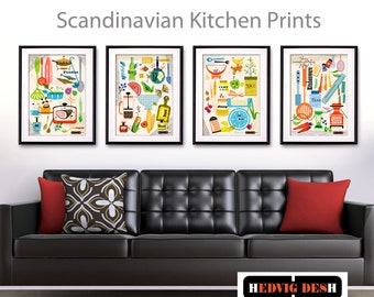 Set of 4 Kitchen Prints, Mid Century Modern Wall Art, Scandinavian Print Set, Retro Gift Set, Scandi Art Prints, set of 4 - unframed