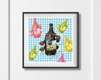 Package Holiday Art Print 'Unframed'  - Vintage retro photo illustration drinks party kitsch bottles spain- P&P WORLDWIDE