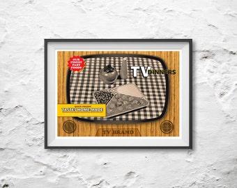 TV Dinner tray Poster Art Print or Canvas Print 'Unframed'  - Mid Century style retro illustration alu tray fast food