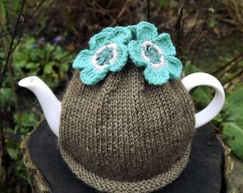 Turquoise Flower Tea Cosy, Teacosy, Teacozy, Tea Cozy