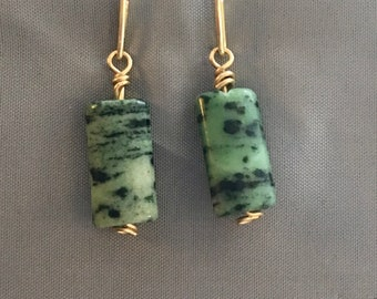 Zoisite ruby earring, green zoisite stone, green and gold, green textured stone, focus, creativity, inner strength