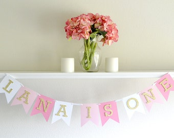 First Birthday Banner Pink And Gold
