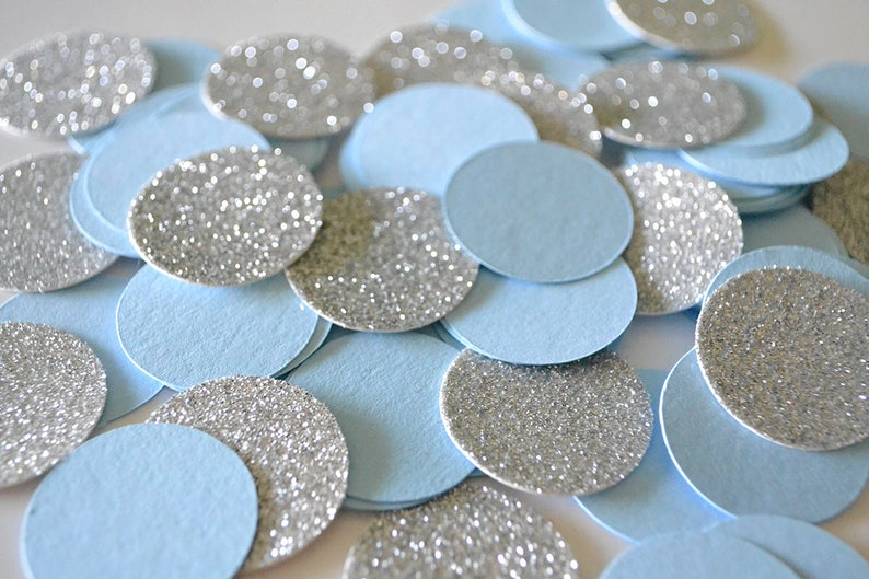 First Birthday Decor Boy Blue And Silver Party Confetti