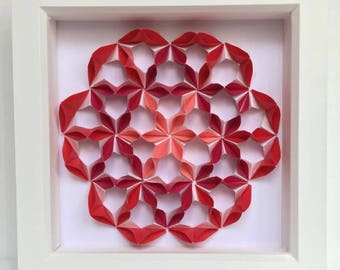 Red Flower Modular Origami Wall Art Home Decor 3D Paper Anniversary Gift Oriental