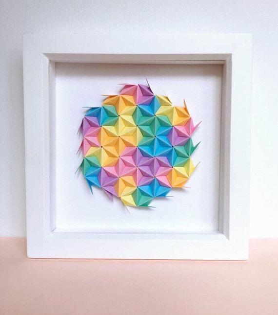 Rainbow Origami Wall Art Colourful Modular Origami Art 3D | Etsy