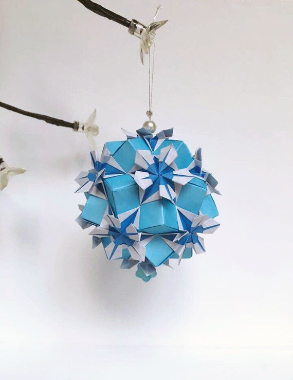 Blue Flower Kusudama Origami Flower Ball Paper Decor Blue Etsy