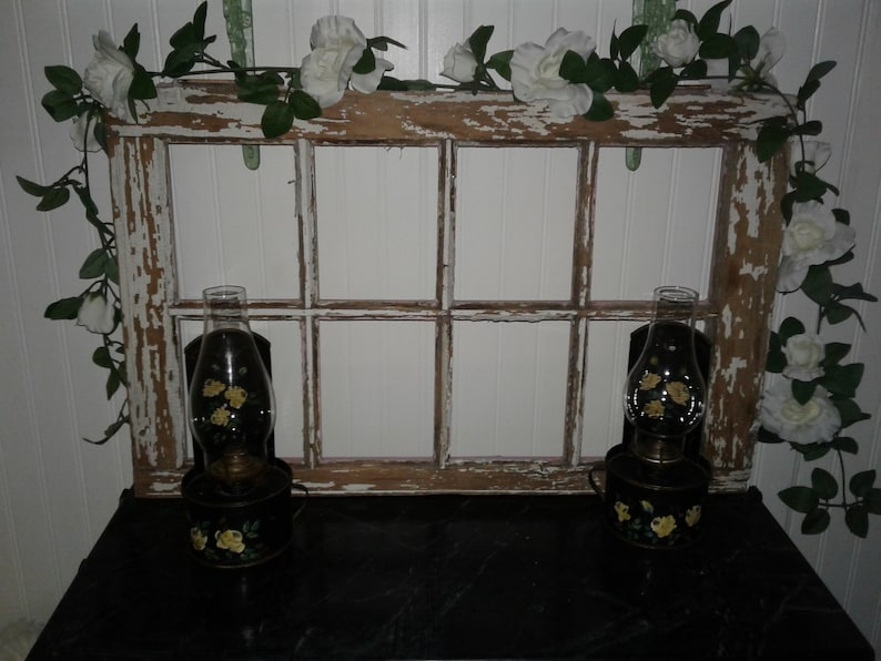 Antique Vintage Barn Wooden Window Old Chippy Paint #1 of Pair.