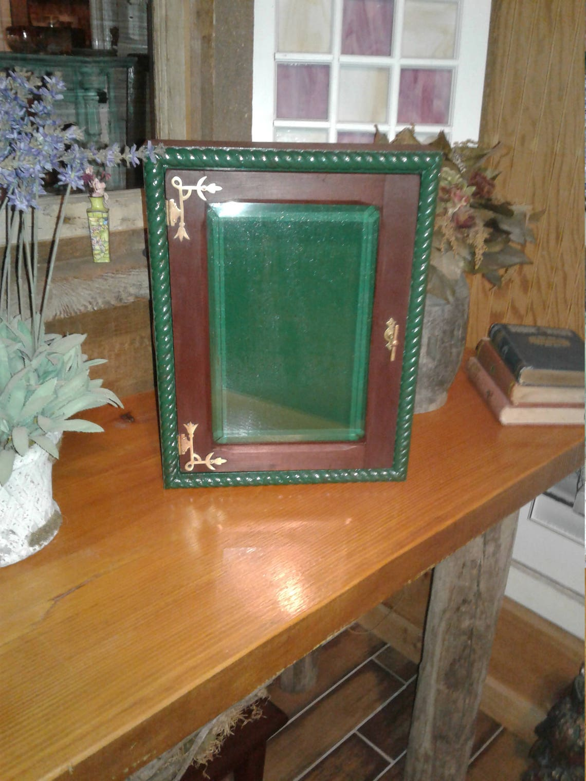 Antique Beveled Glass Window Framed Into Medicine Apothecary Cabinet. Makes Great Curio, Jewelry Box, Spice Rack, Cupboard for Any Room