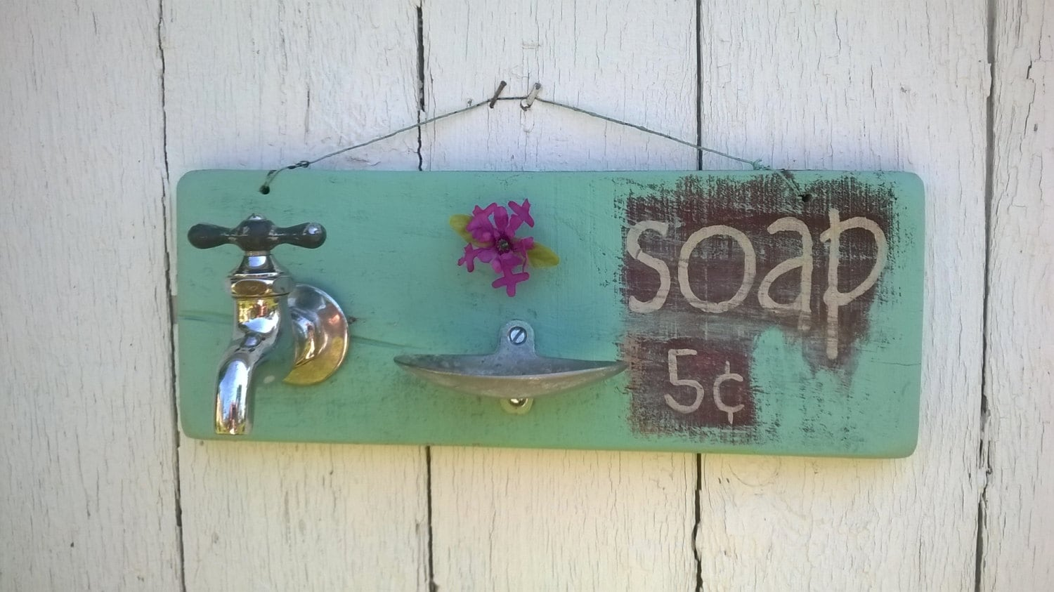 Vintage Sign With Old Antique Farm Sink Spigot Faucet and Soap Dish ...