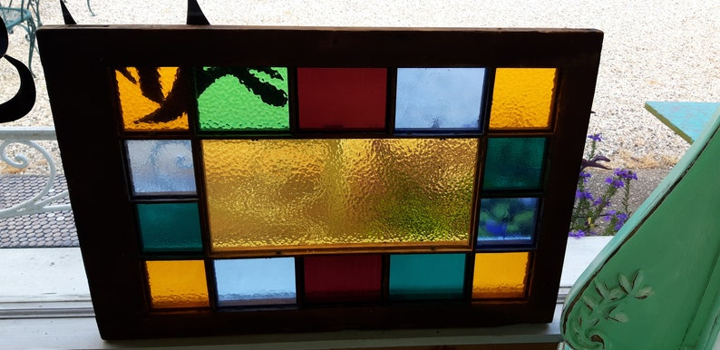 Antique Queen Anne Stained Glass Window Vibrant Colors Hang Horizontal or  Vertically Wood Mullions American Made