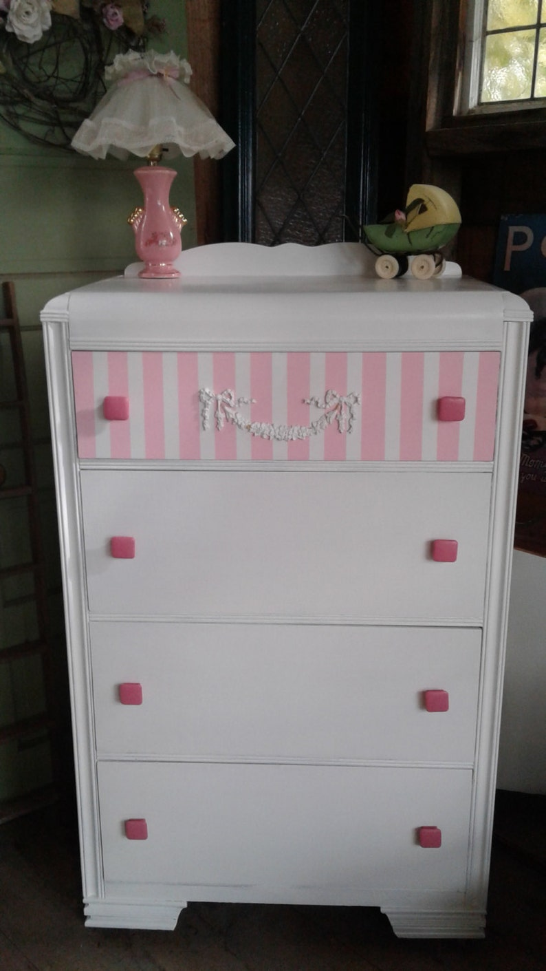 Antique Deco Dresser Cottage Chic Bureau Art Deco Lines Meet French Country Part Of Set 2 Perfect For Women Girls Room Or Nursery