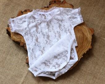 08a9a24f2 Baptism White Lace Bodysuit, Lace baby onesie, Petti Romper, Lace Petti  Romper, Newborn Lace Body, Code: Lace-04, PHOTO PROP, GAMMAkids