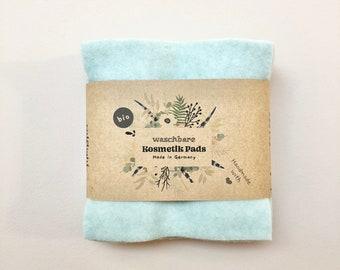 Biologisch abbaubare Abschminkpads aus Bio Baumwoll-Fleece, zero waste ganz einfach - 10 Kosmetik-Pads waschbar und wiederverwendbar