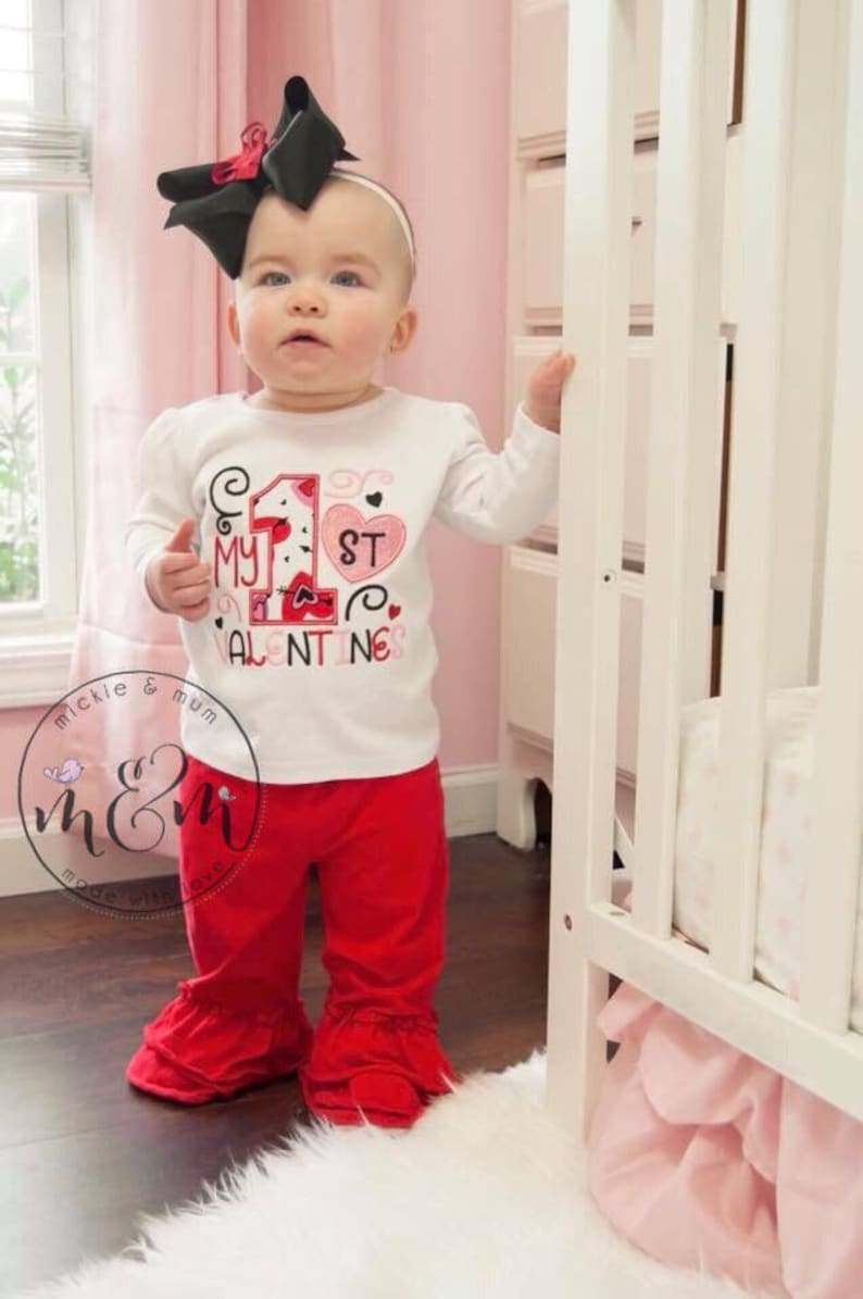 Baby/'s First Valentine/'s Day Red and Pink Birthday Love is Love First Vakentine/'s Day My First Valentine/'s Day Valentine/'s Outfit