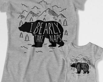 Mommy And Me Clothing Mother Daughter T Shirt Mom And Son Matching Shirts Mom And Baby Gift For Her I Bearly Take Naps Bodysuit MAT-878