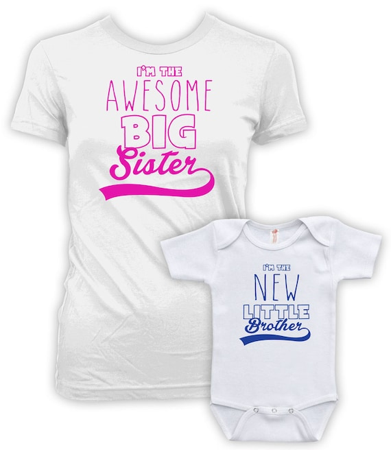 096e927756 Big Sister Little Brother Shirts I m The Awesome Big