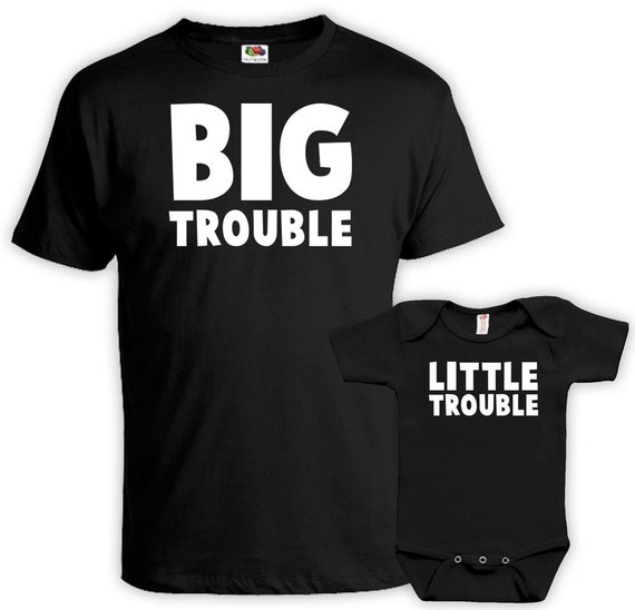 Matching Father Son Shirts Daddy And Me Outfits Father Daughter Matching  Shirts Dad Gifts Big Trouble Little Trouble Bodysuit MAT-758-759
