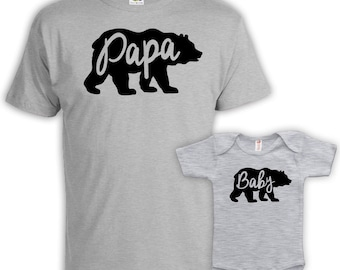 Father And Baby Father And Son Matching Shirts Father And Daughter Matching Family Shirts Family Outfits Papa Baby Bear Bodysuit MAT-665-667