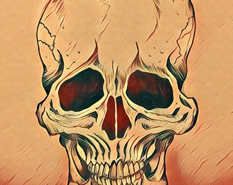 "Skull: Original Art Print Reproduction (9"" x 12"")"