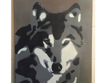 "Grey Wolf Stencil Art Painting On 18"" x 24"" Canvas"
