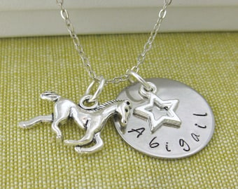 Name Necklace Horse Charm Star Charm Necklace Personalised Horse Lovers Gift UK Seller