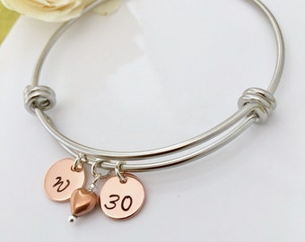 Special Birthday Gift Personalised Bangle Bracelet Rose Gold Initial 16th 18th 21st 30th 40th Heart Charms UK Seller