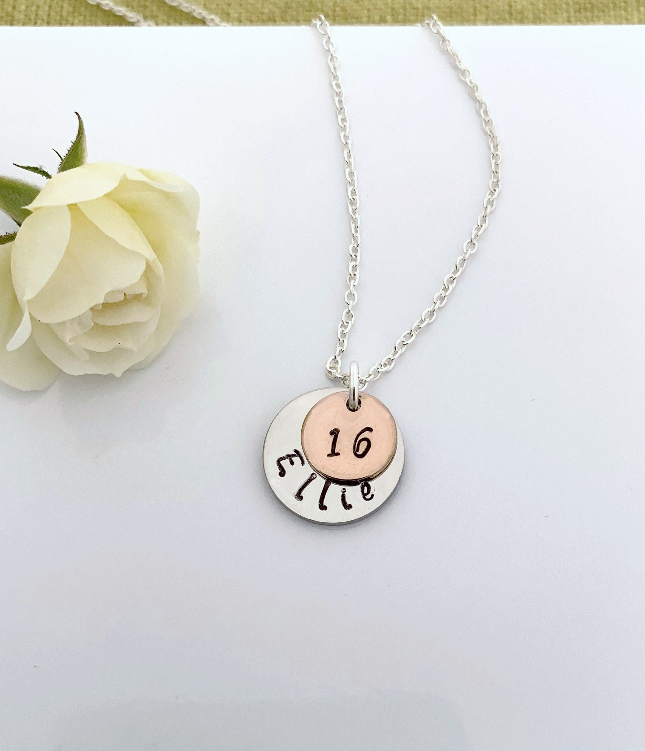 Personalised 16th Birthday Necklace Name Necklace Rose Gold Charm Gift Boxed Uk Seller Any 1 Or 2 Digit Number
