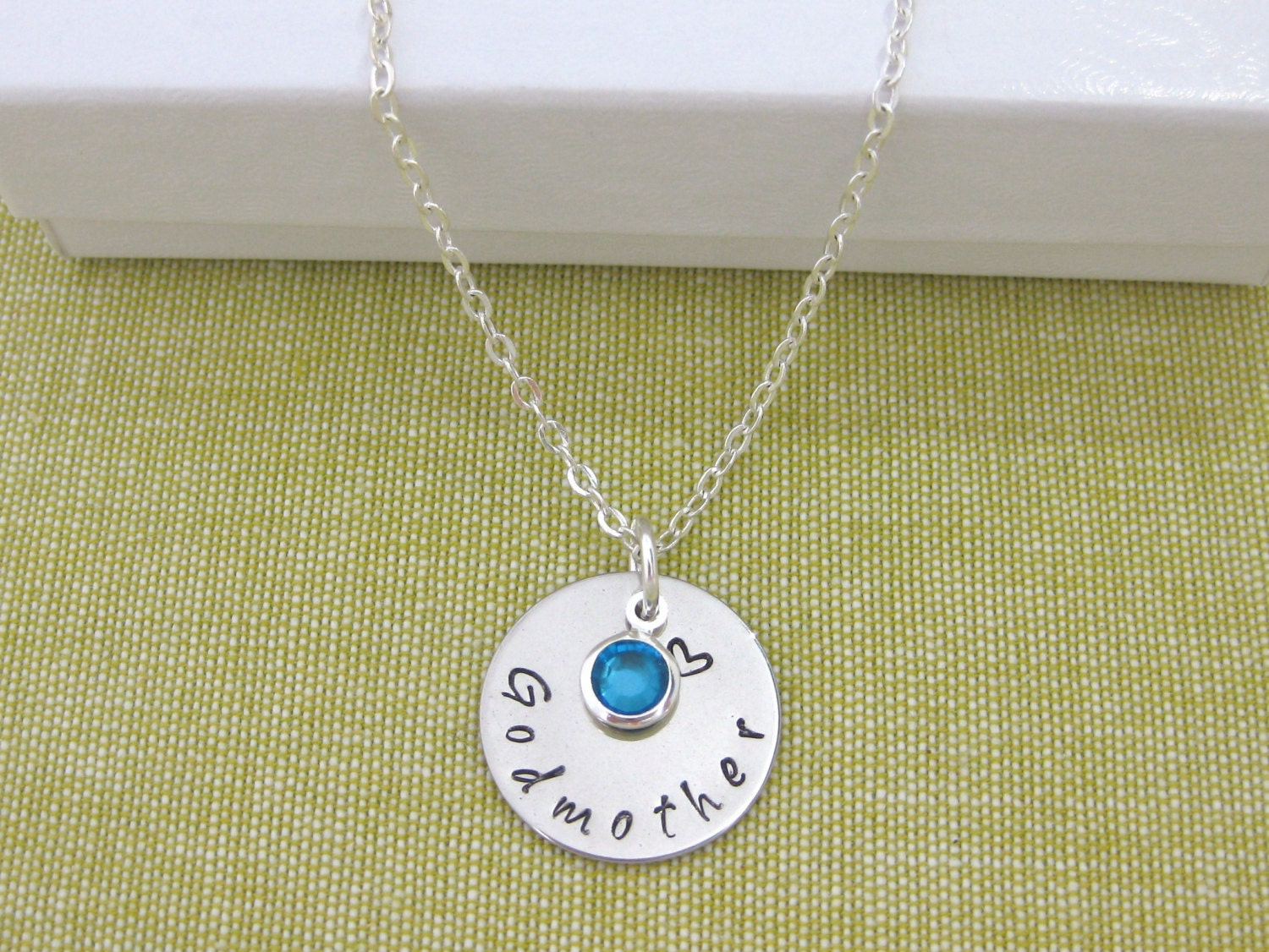 Gift For Goddaughter Birthstone Necklace Sterling By: Godmother Necklace Goddaughter Necklace Gift Hand Stamped